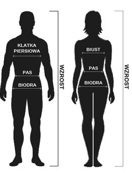 e9819b43f018e Aby prawidłowo wybrać rozmiar konieczna jest znajomość swoich rzeczywistych  wymiarów, czyli: - obwodu w klatce piersiowej w najpełniejszym miejscu,